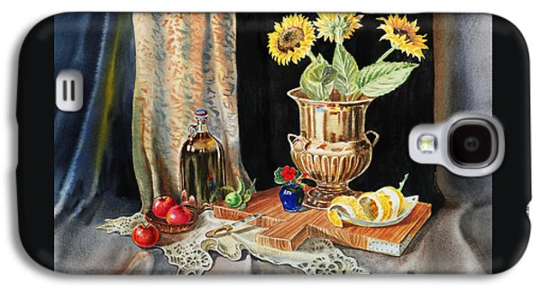 Still Life With Sunflowers Lemon Apples And Geranium  Galaxy S4 Case by Irina Sztukowski