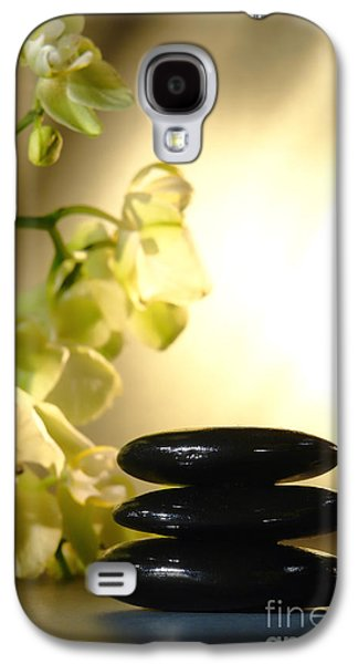 Orchid Galaxy S4 Case - Stone Cairn And Orchids by Olivier Le Queinec