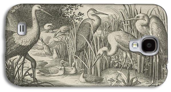 Storks And Ducks At A Pond, Jan Van Londerseel Galaxy S4 Case by Jan Van Londerseel