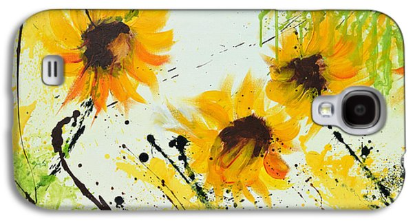 Sunflowers - Abstract Painting Galaxy S4 Case by Ismeta Gruenwald