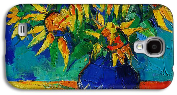 Sunflowers In Blue Vase Galaxy S4 Case by Mona Edulesco