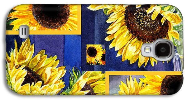 Galaxy S4 Case featuring the painting Sunflowers Sunny Collage by Irina Sztukowski