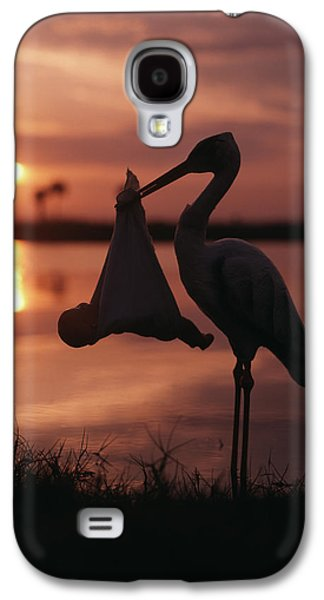 Sunrise Silhouette Of Stork Carrying Galaxy S4 Case