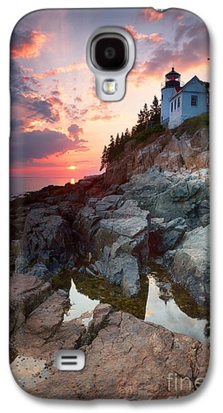 Sunset At Bass Harbor Lighthouse Galaxy S4 Case by Jane Rix
