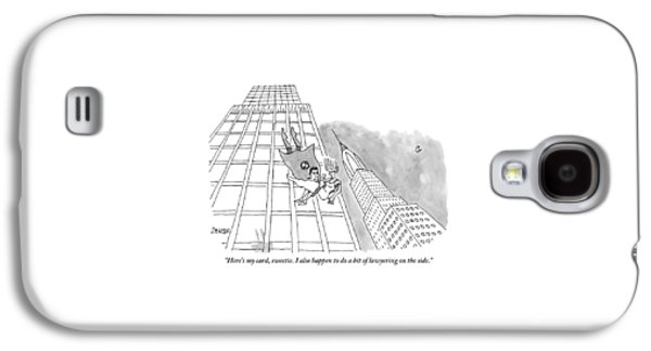 Superman Gives His Card To A Woman He Is Saving Galaxy S4 Case by Jack Ziegler