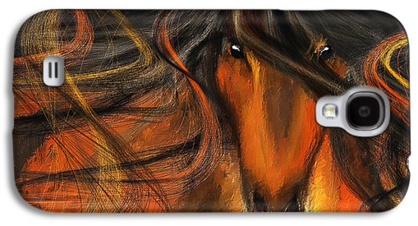 Equine Vagabond - Bay Horse Paintings Galaxy S4 Case by Lourry Legarde