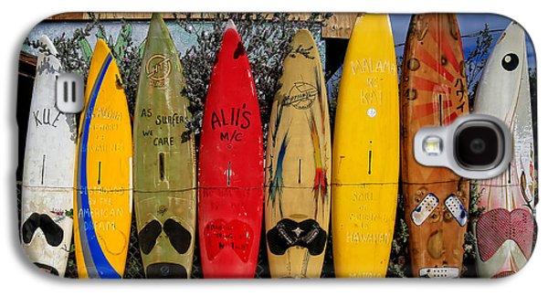 Surf Board Fence Maui Hawaii Galaxy S4 Case by Edward Fielding