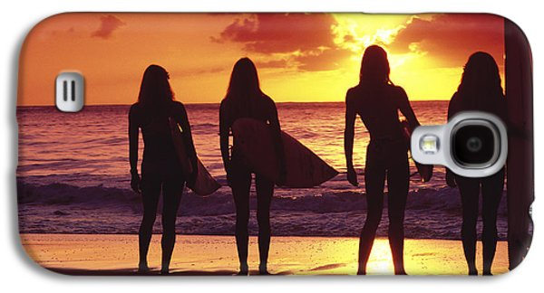 Surfer Girl Silhouettes Galaxy S4 Case