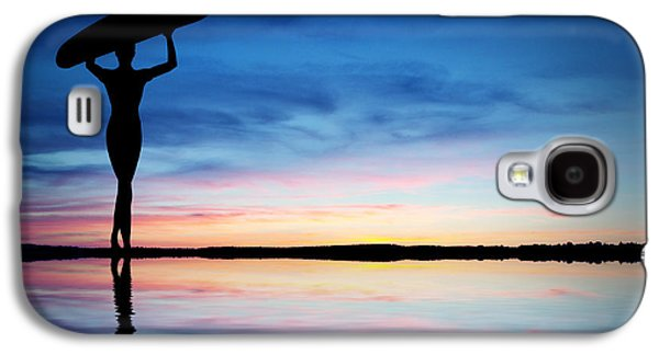 Surfer Silhouette Galaxy S4 Case by Aged Pixel