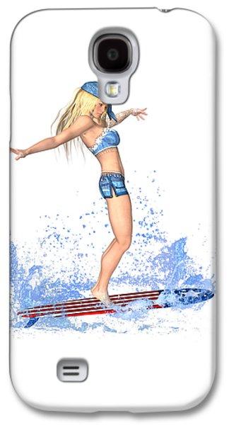 Surfing Girl Galaxy S4 Case by Renate Janssen