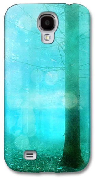 Surreal Dreamy Fantasy Bokeh Aqua Teal Turquoise Woodlands Trees  Galaxy S4 Case by Kathy Fornal