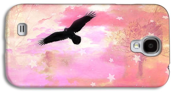 Surreal Dreamy Fantasy Ravens Pink Sky Scene Galaxy S4 Case by Kathy Fornal