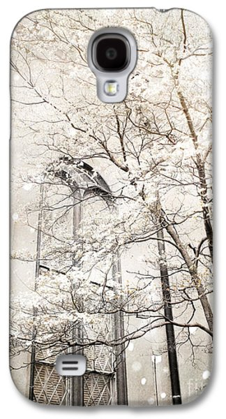Surreal Dreamy Winter White Church Trees Galaxy S4 Case by Kathy Fornal