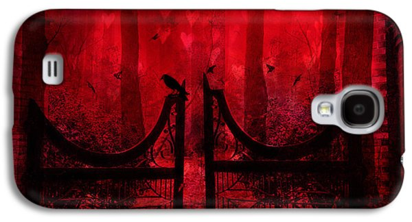 Surreal Fantasy Gothic Red Forest Crow On Gate Galaxy S4 Case by Kathy Fornal