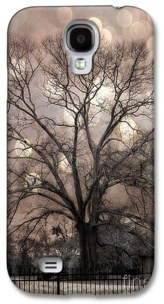 Surreal Fantasy Gothic South Carolina Sepia Oak Trees And Fantasy Bokeh Circles Galaxy S4 Case by Kathy Fornal