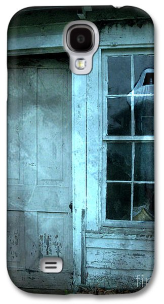 Surreal Gothic Grim Reaper In Window - Spooky Haunted House Reflection In Window Galaxy S4 Case