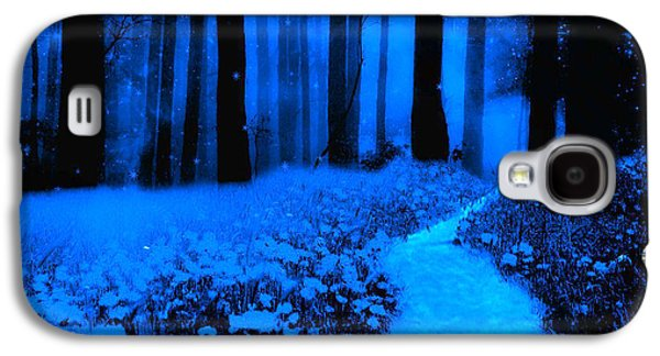 Surreal Moonlight Blue Haunting Dark Fantasy Nature Path Woodlands Galaxy S4 Case by Kathy Fornal