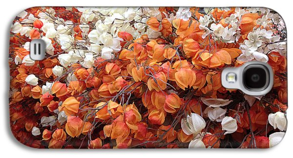 Surreal Orange And White Fall Leaves Branches And  Flowers - Colors Of Autumn Fall Leaves  Galaxy S4 Case