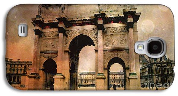 Louvre Galaxy S4 Case - Louvre Museum Arc De Triomphe Louvre Arch Courtyard Sepia- Louvre Museum Arc Monument by Kathy Fornal