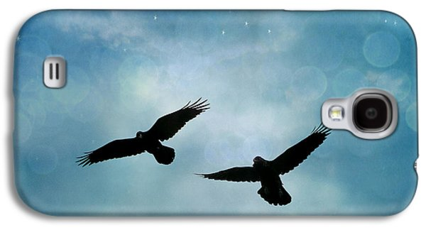 Surreal Ravens Crows Flying Blue Sky Stars Galaxy S4 Case by Kathy Fornal