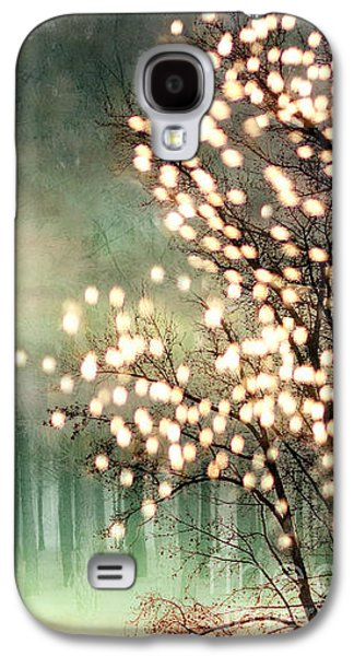 Surreal Sparkling Fantasy Nature - Green Sparkling Lights Trees Forest Woodlands Galaxy S4 Case by Kathy Fornal