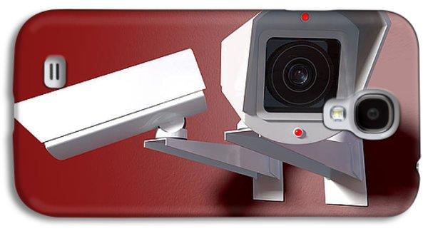 Surveillance Cameras On Red Galaxy S4 Case by Allan Swart