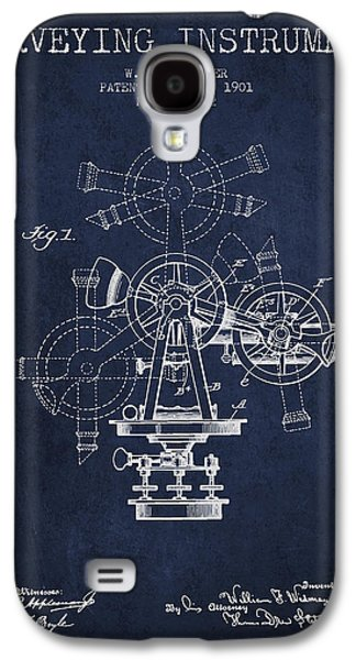 Surveying Instrument Patent From 1901 - Navy Blue Galaxy S4 Case by Aged Pixel