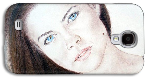 Actress And Model Susan Ward Blue Eyed Beauty With A Mole Galaxy S4 Case by Jim Fitzpatrick