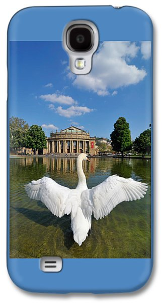 Swan Spreads Wings In Front Of State Theatre Stuttgart Germany Galaxy S4 Case by Matthias Hauser