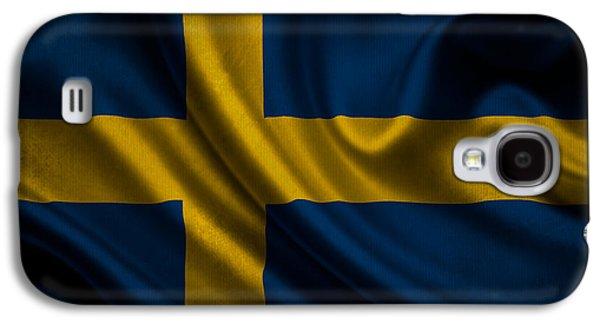 Swedish Flag Waving On Canvas Galaxy S4 Case by Eti Reid