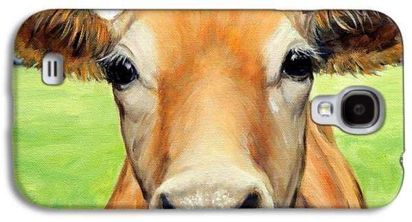 Cow Galaxy S4 Case - Sweet Jersey Cow In Green Grass by Dottie Dracos