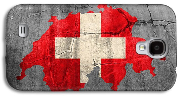 Switzerland Flag Country Outline Painted On Old Cracked Cement Galaxy S4 Case