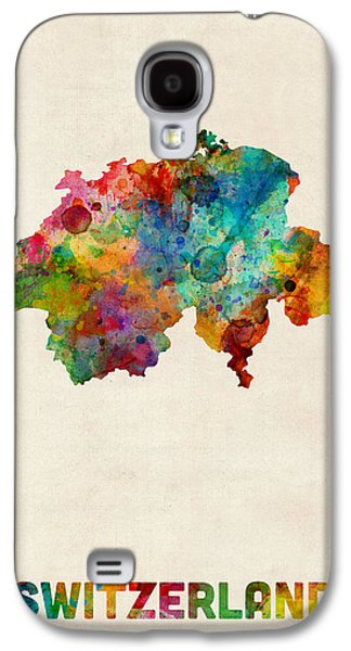 Switzerland Watercolor Map Galaxy S4 Case by Michael Tompsett