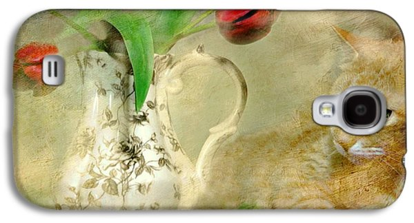 Tabby And Tulips Galaxy S4 Case by Diana Angstadt