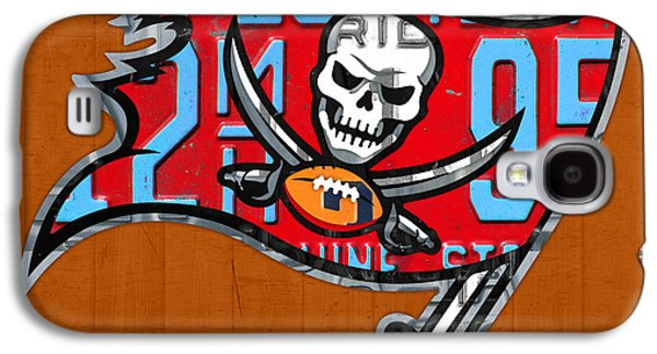 Tampa Bay Buccaneers Football Team Retro Logo Florida License Plate Art Galaxy S4 Case by Design Turnpike