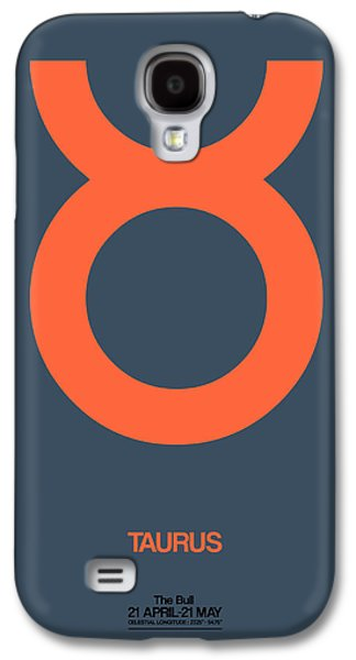 Taurus Zodiac Sign Orange Galaxy S4 Case by Naxart Studio