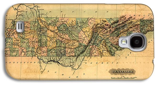 Tennessee Vintage Antique Map Galaxy S4 Case by World Art Prints And Designs