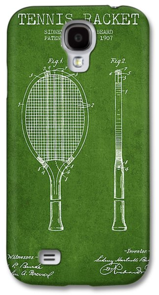 Tennis Racket Patent From 1907 - Green Galaxy S4 Case by Aged Pixel