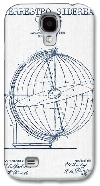 Terrestro Sidereal Globe Patent Drawing From 1886- Blue Ink Galaxy S4 Case by Aged Pixel