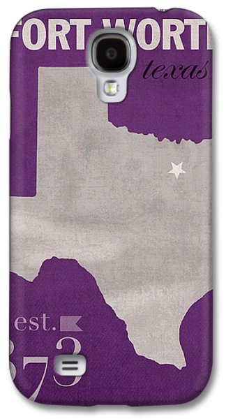 Texas Christian University Tcu Horned Frogs Fort Worth College Town State Map Poster Series No 107 Galaxy S4 Case by Design Turnpike