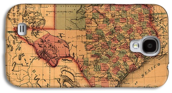 Texas Map Art - Vintage Antique Map Of Texas Galaxy S4 Case by World Art Prints And Designs