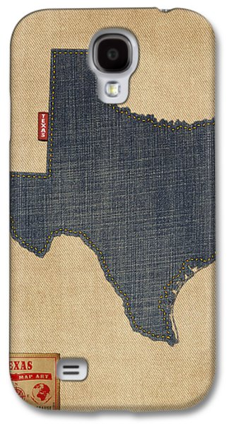 Texas Map Denim Jeans Style Galaxy S4 Case by Michael Tompsett