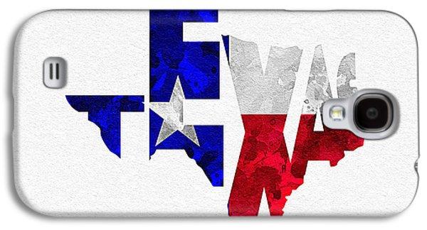 Texas Typographic Map Flag Galaxy S4 Case by Ayse Deniz