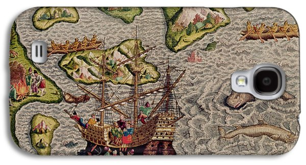 The Arrival And Disembarkation On The American Coast, From Americae Tertia Pars, 1592  Galaxy S4 Case by Theodore de Bry