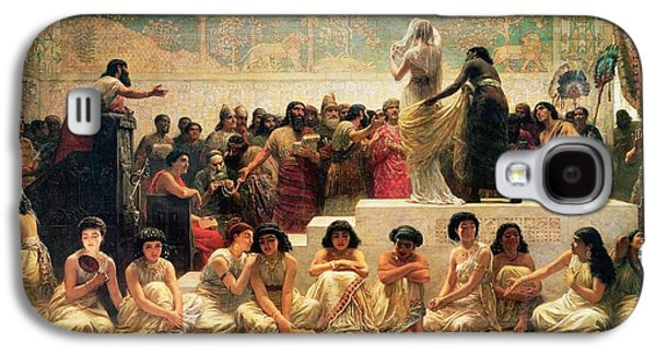 The Babylonian Marriage Market, 1875 Galaxy S4 Case by Edwin Longsden Long