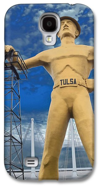 Silver Turquoise Galaxy S4 Case - The Golden Driller - Tulsa Oklahoma by Deena Stoddard