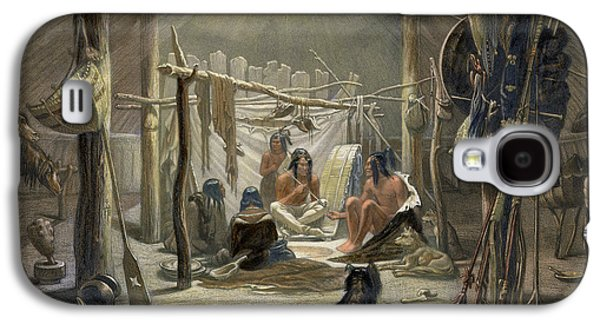 The Interior Of A Hut Of A Mandan Chief Galaxy S4 Case by Karl Bodmer