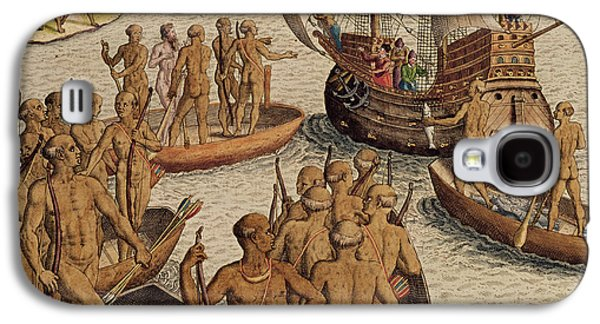 The Lusitanians Send A Second Boat Towards Me, From Americae Tertia Pars Galaxy S4 Case by Theodore de Bry