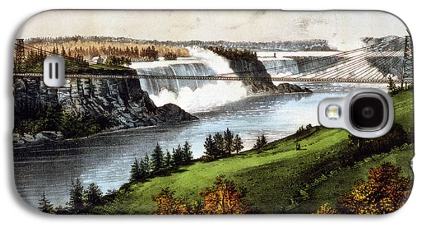 The New Suspension Bridge--niagara Falls Currier & Ives Galaxy S4 Case by Litz Collection