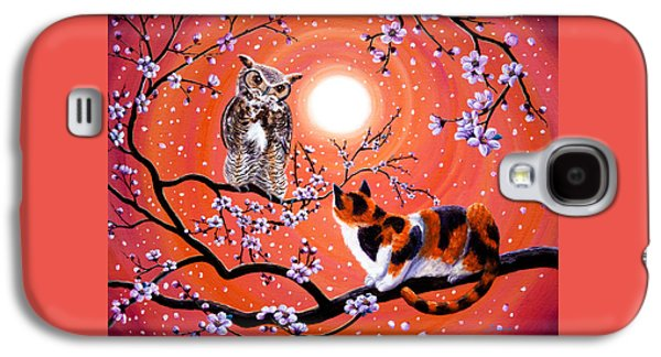 The Owl And The Pussycat In Peach Blossoms Galaxy S4 Case by Laura Iverson